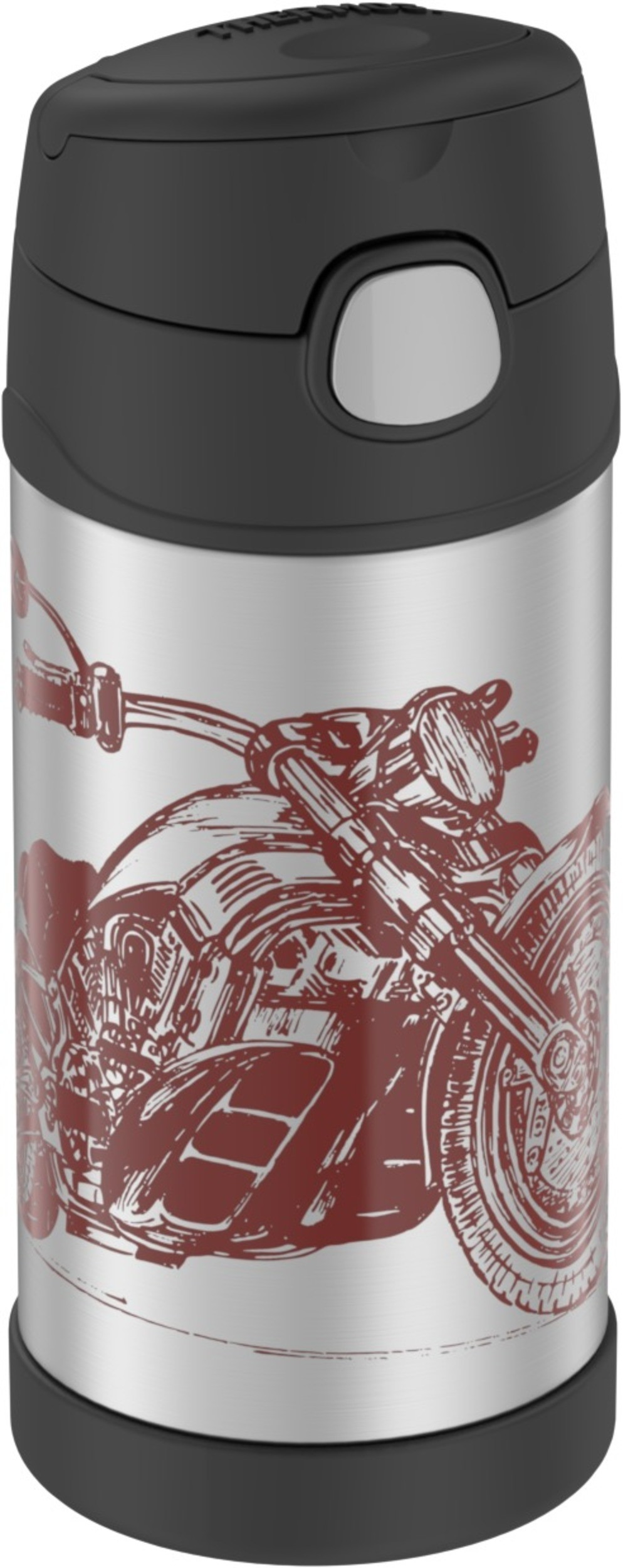 FUNTAINER® STAINLESS STEEL WATER BOTTLE WITH STRAW MOTORCYCLE