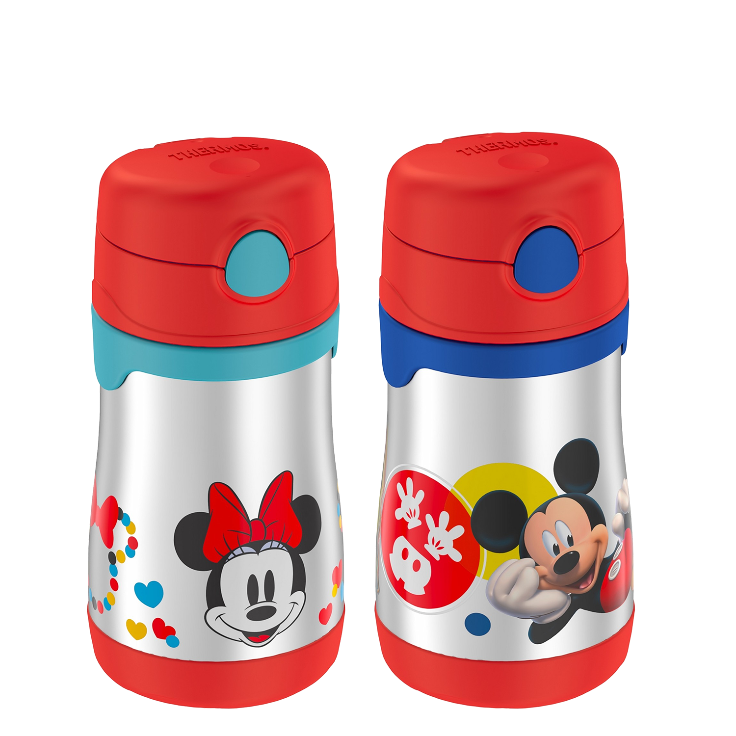FOOGO™ STAINLESS STEEL STRAW BOTTLE PAIR 10OZ, MICKEY MOUSE