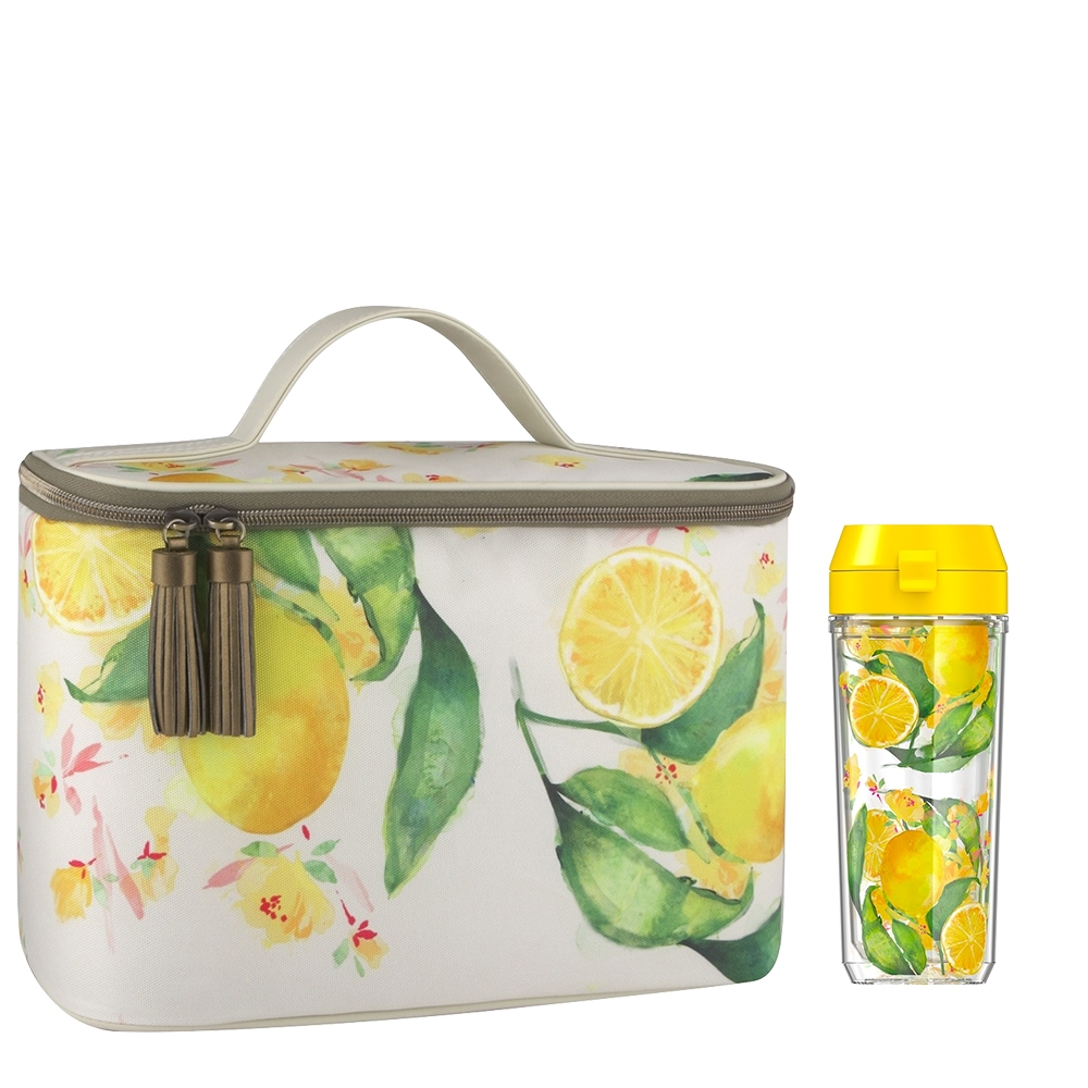PATINA VIE DOUBLE WALL 18 OZ HYDRATION BOTTLE WITH GLAM LUNCH TOTE, CITRUS