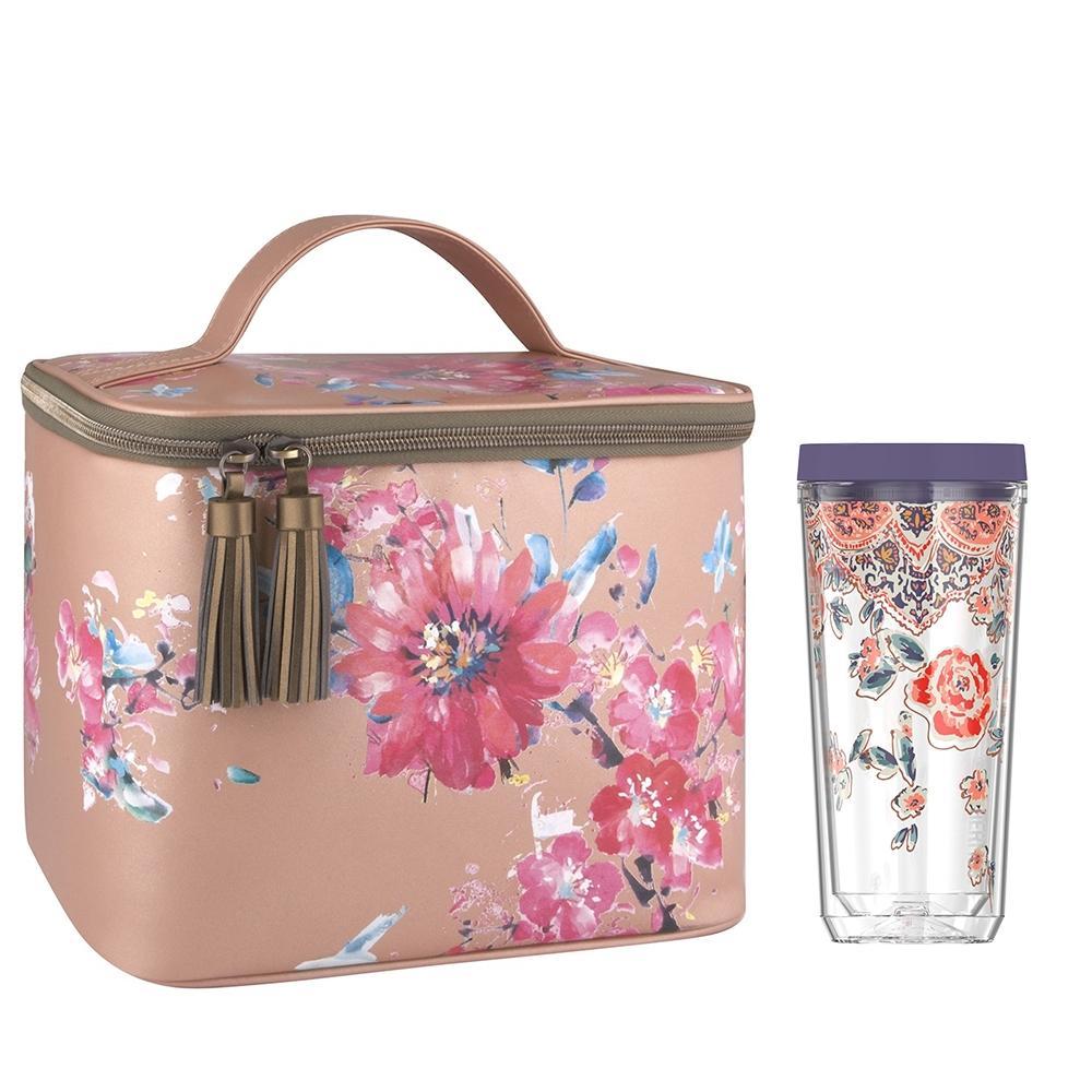 PATINA VIE® DOUBLE WALL TUMBLER WITH GLAM LUNCH TOTE, POSY SHIMMER
