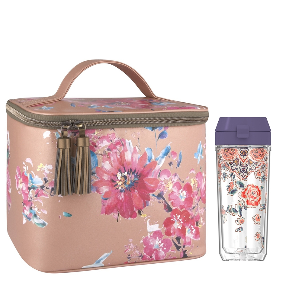 PATINA VIE® DOUBLE WALL HYDRATION BOTTLE WITH GLAM LUNCH TOTE, POSY SHIMMER