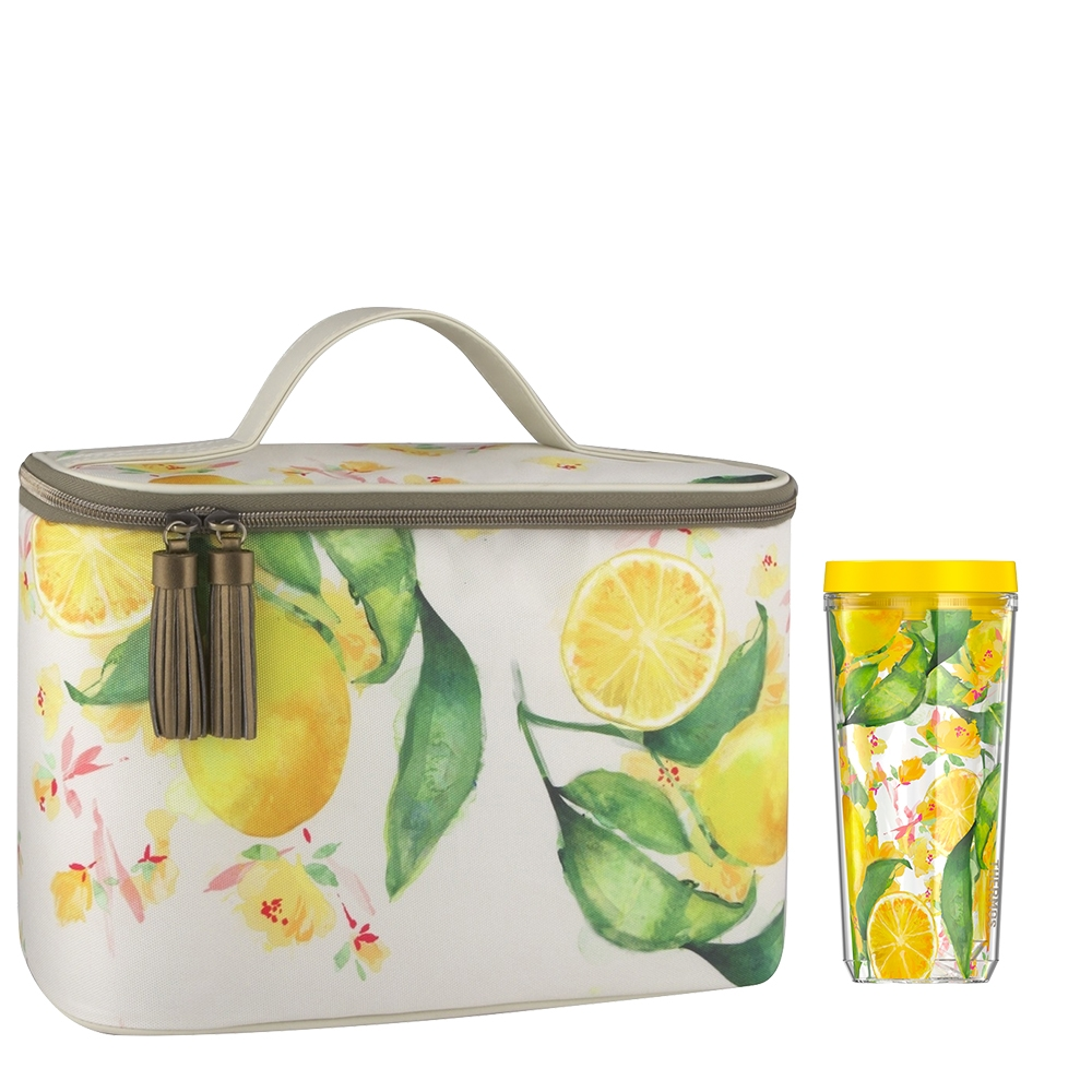 PATINA VIE® DOUBLE WALL TUMBLER WITH GLAM LUNCH TOTE, CITRUS