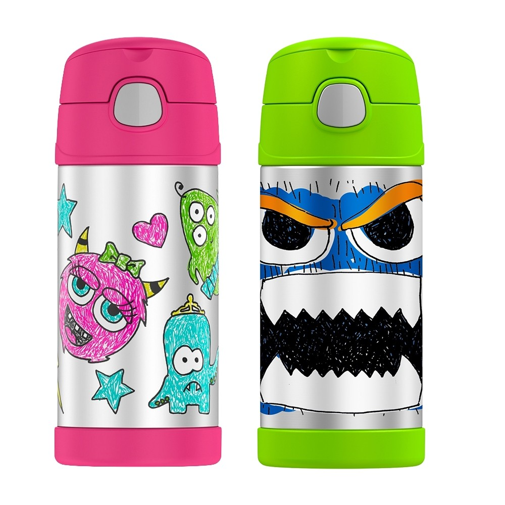WACKY FACES WATER BOTTLE WITH STRAW BUNDLE