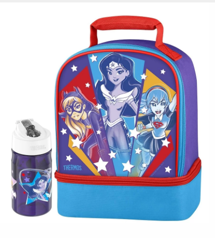 DUAL LUNCH KIT WITH WATER BOTTLE 12OZ, DC SUPER HERO GIRLS