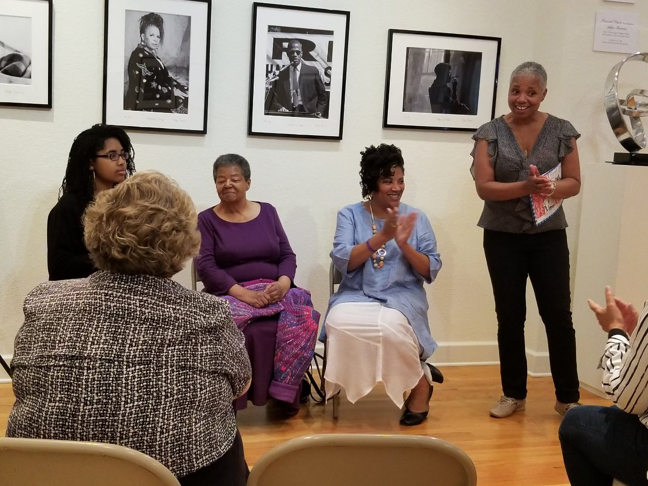 Elizabeth Eckford, Eurydice Stanley, and Grace Stanley at presentation