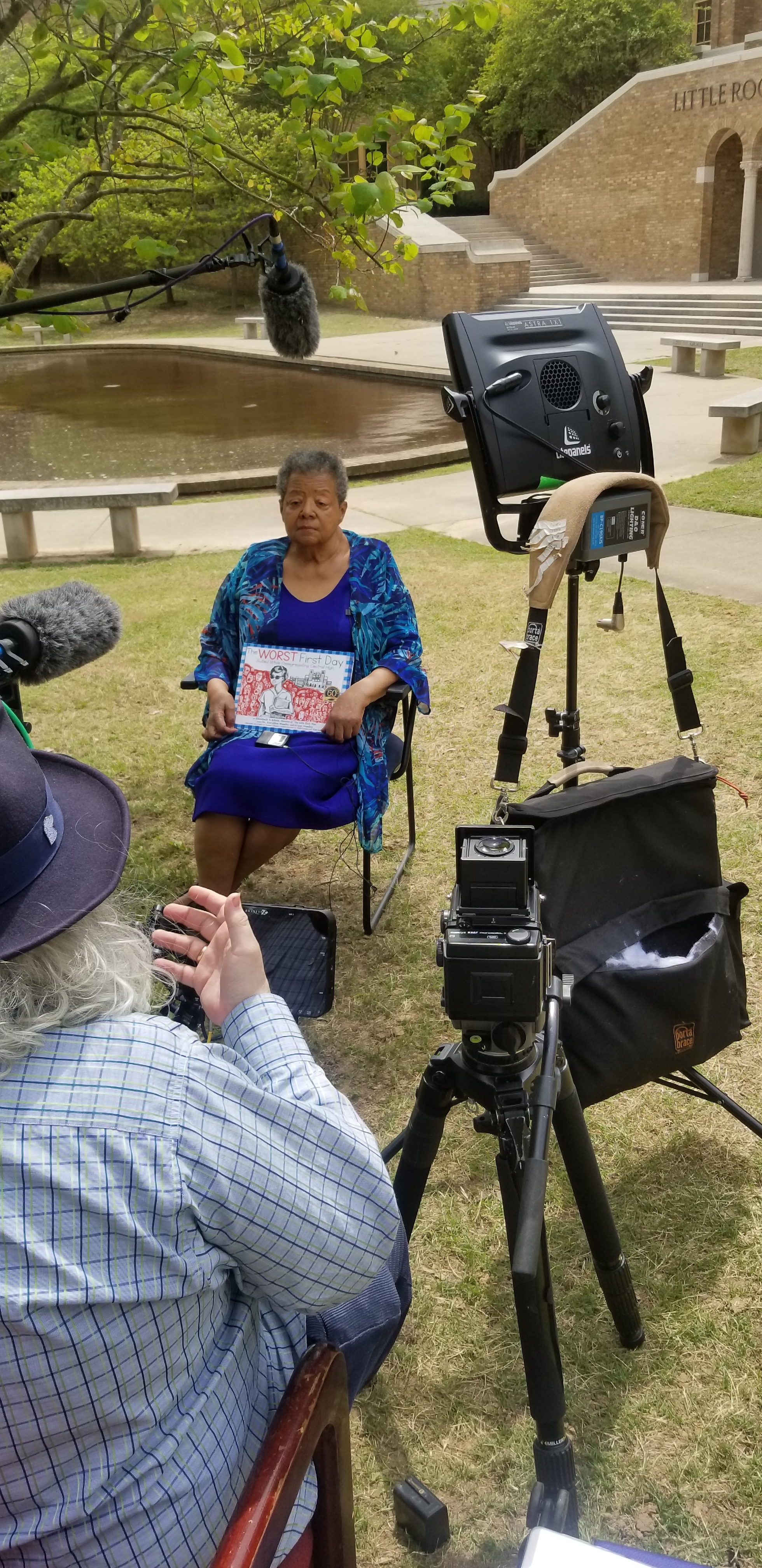Elizabeth Eckford speaking to news media