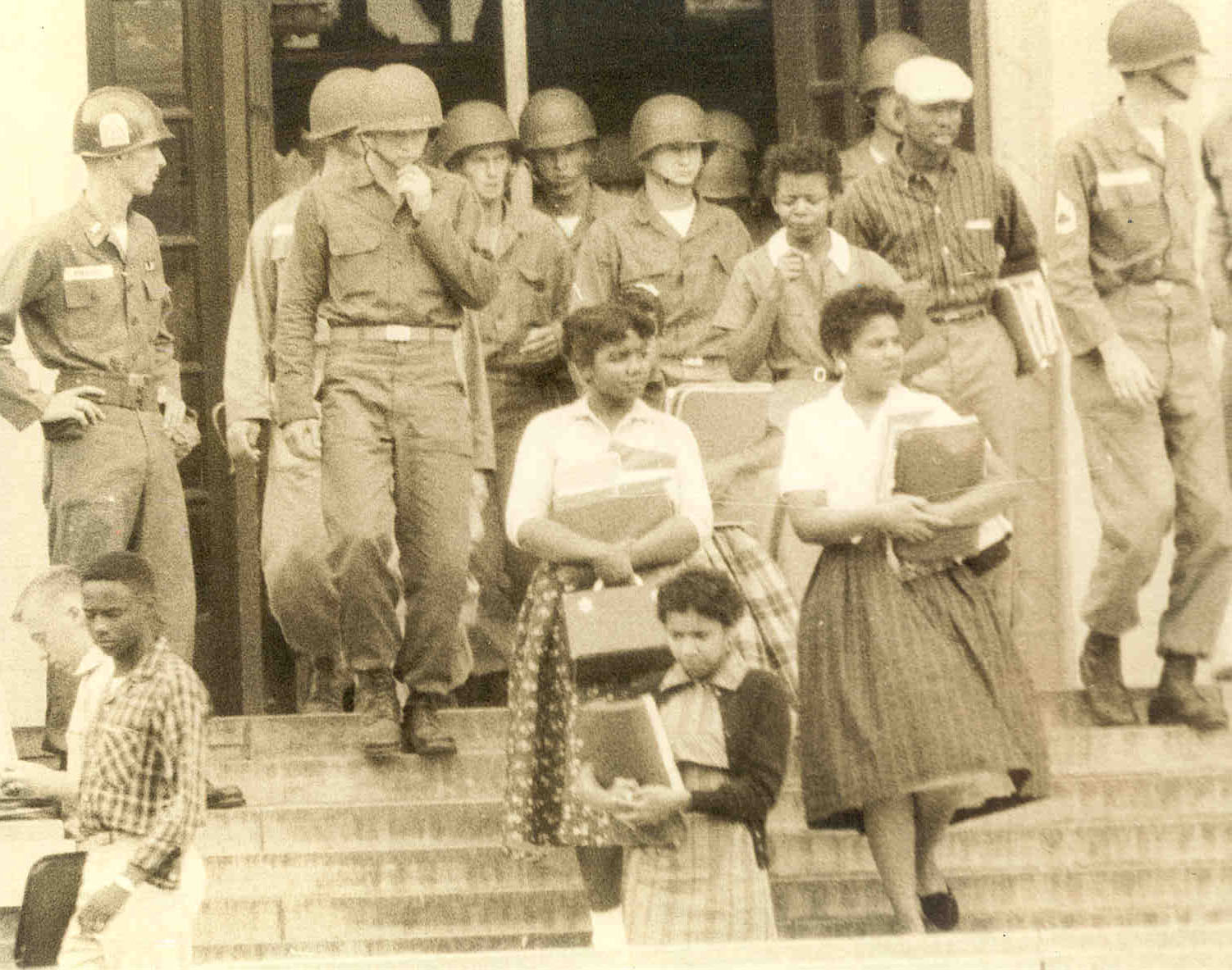 101st U.S. Airborne Division escorting the Little Rock Nine into Central High School