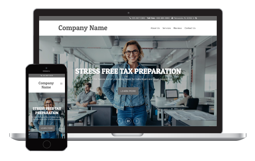 Laptop and mobile phone displaying a tax preparation website