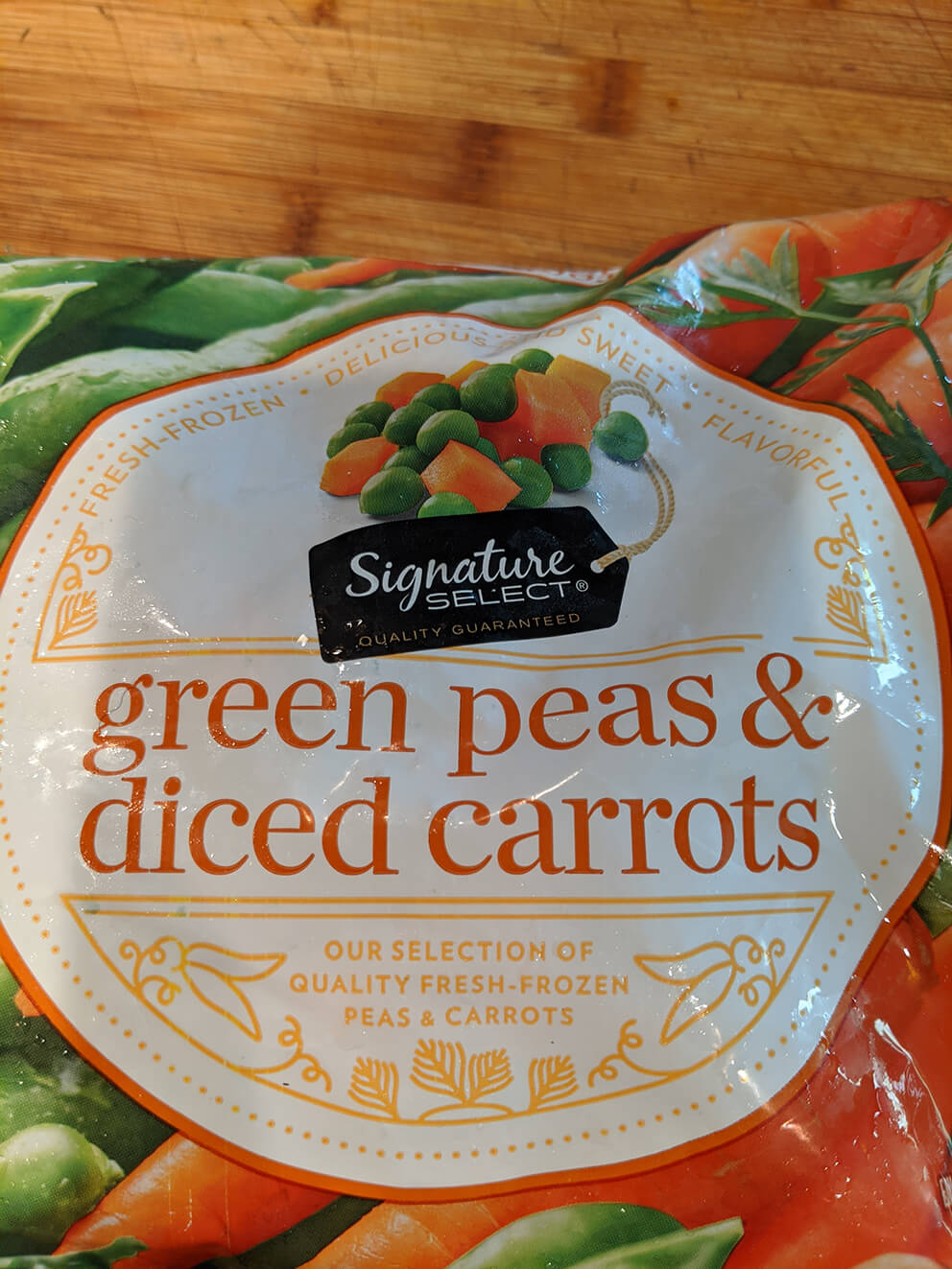 Green Peas And Diced Carrots Frozen Bag