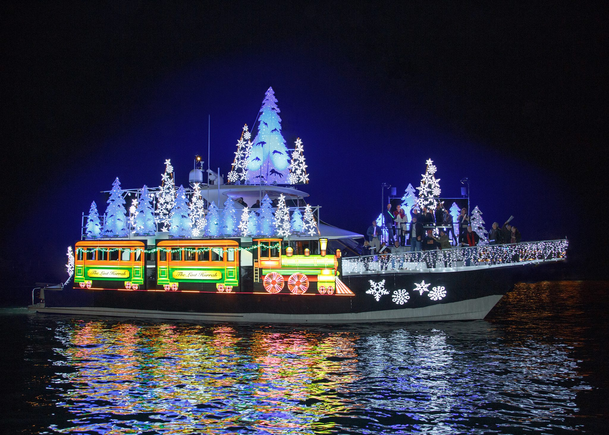 Newport Beach Boat Parade - Boat with blue lights
