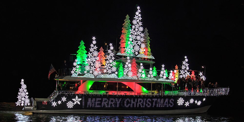 Newport Beach Parade of Lights - boat with green lights