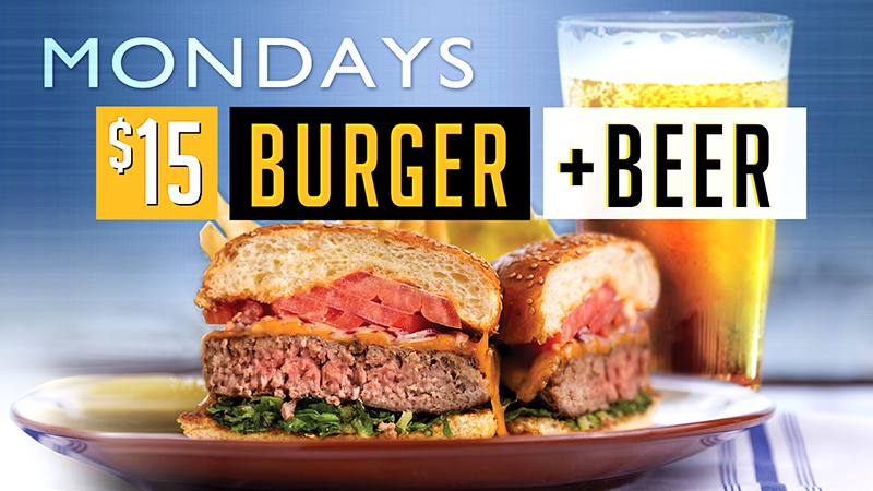 Join us and enjoy a burger and a beer for only $15!