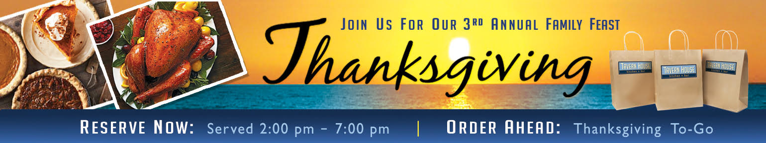 Join us for our 3rd annual family feast Thanksgiving! Reserve now: Served 2:00pm - 7:00pm. Order ahead: Thanksgiving To-Go.