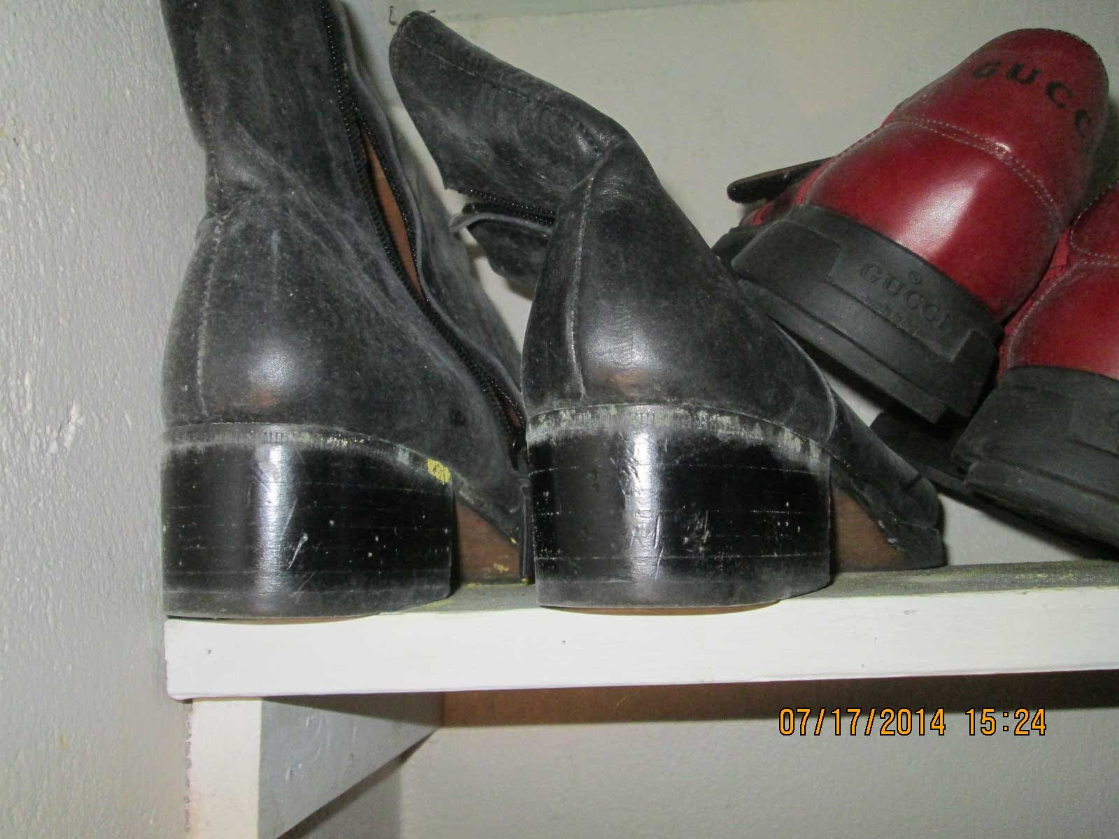 Mold buildup on a pair of boots