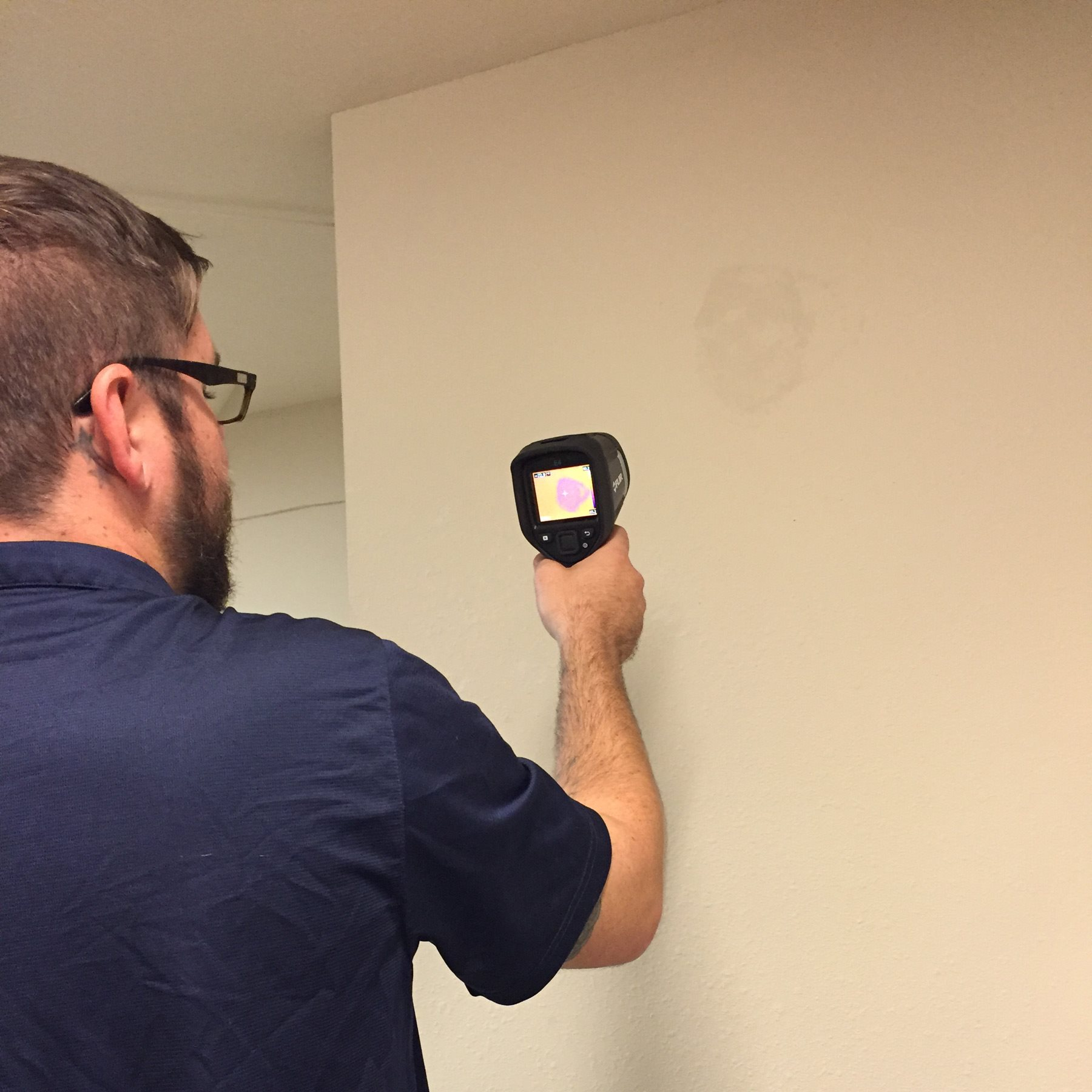 ACW technician scanning wall for mold