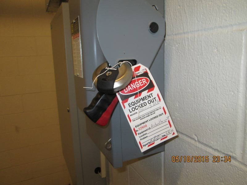 Equipment Locked out with lock and warning