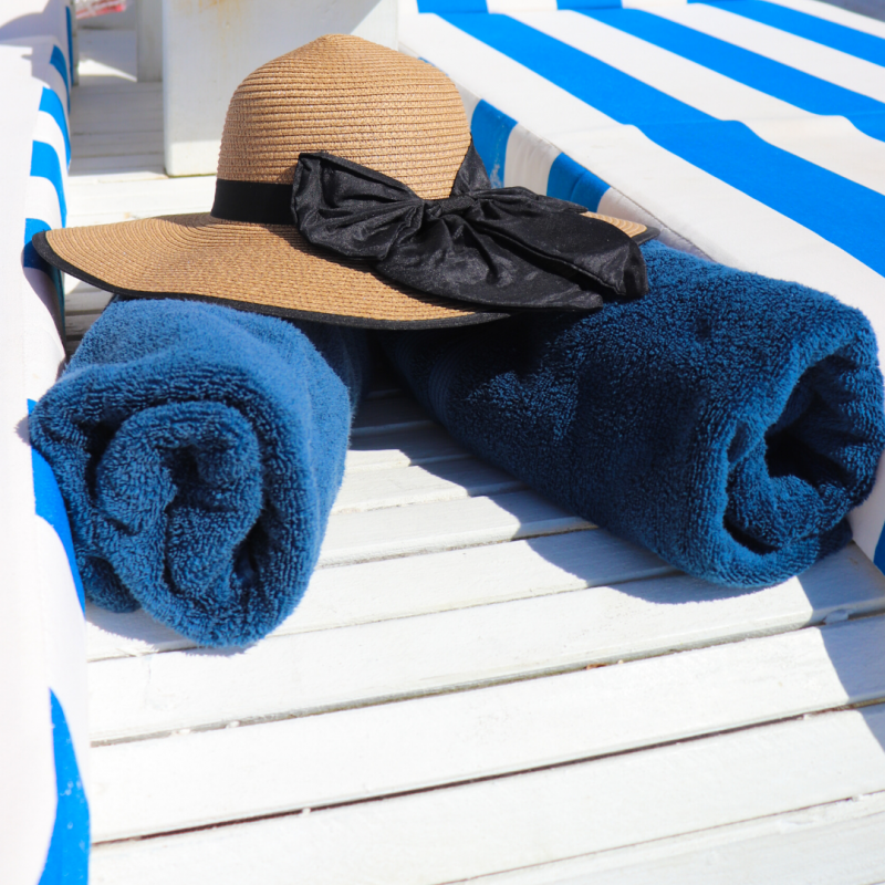 Beach Chair with hat and towel