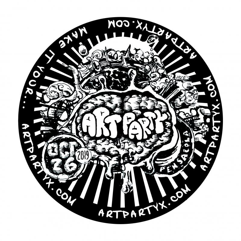Art Party Circle Sticker