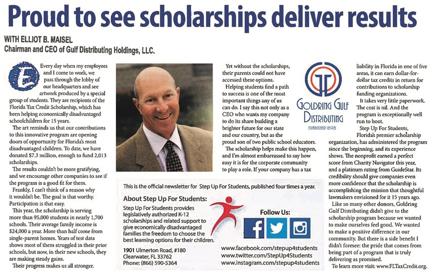 Step Up for Students feautures Elliot Maisel in their Quarterly Newsletter