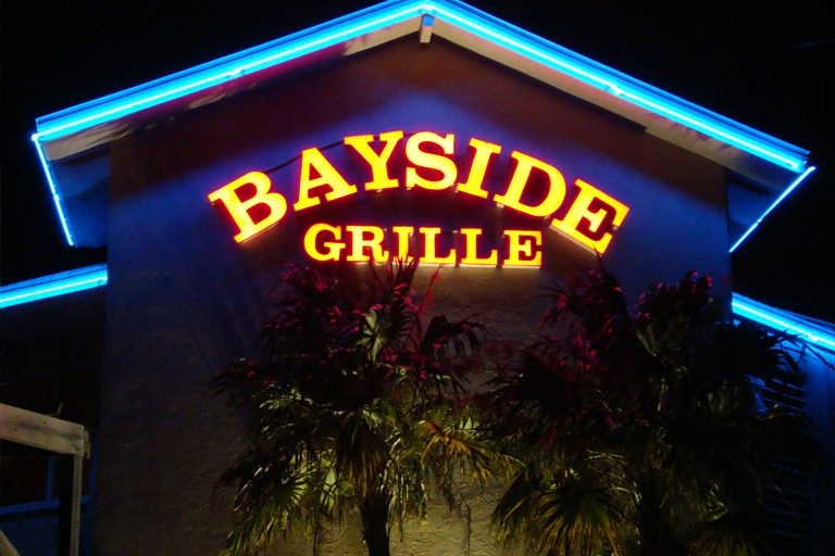Sign on the front of Bayside Grille