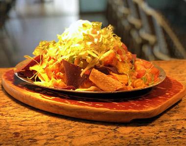 Dinner served on a platter