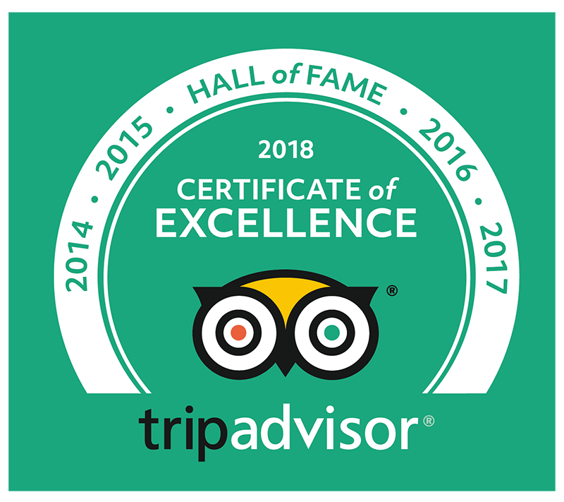 Trip Advisor Certificate of Excellence Hall of Fame 2014-2017