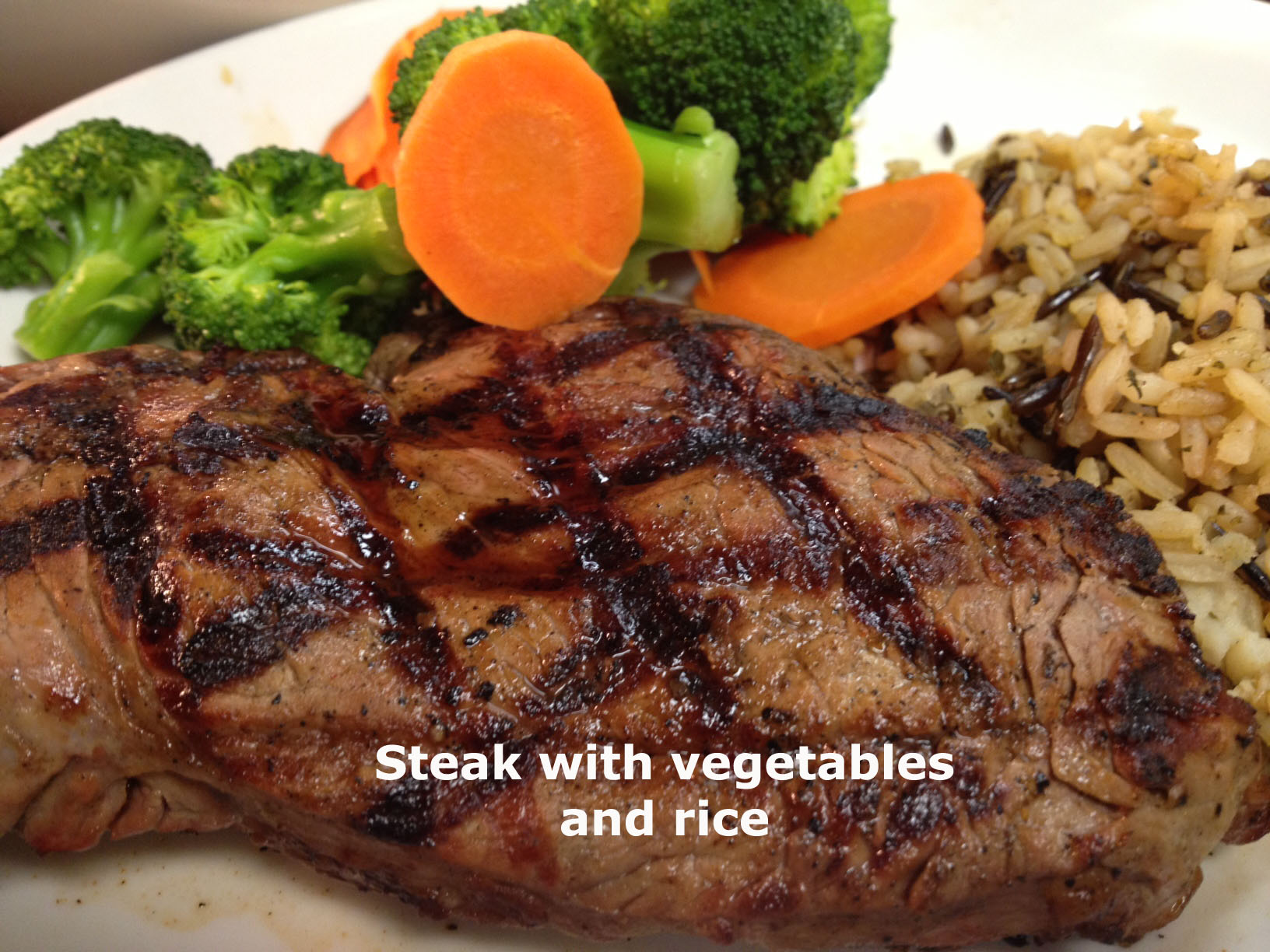 Steak with Vegetables and rice
