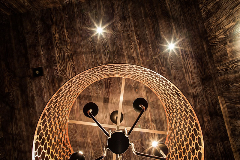 Starfish Chandelier showing part of roof decoration treatment with wood and lighting