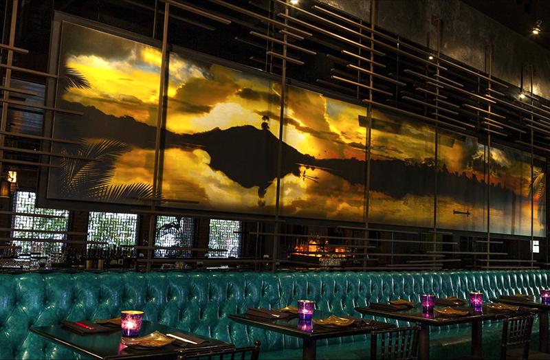 Mural showing asian sunset art