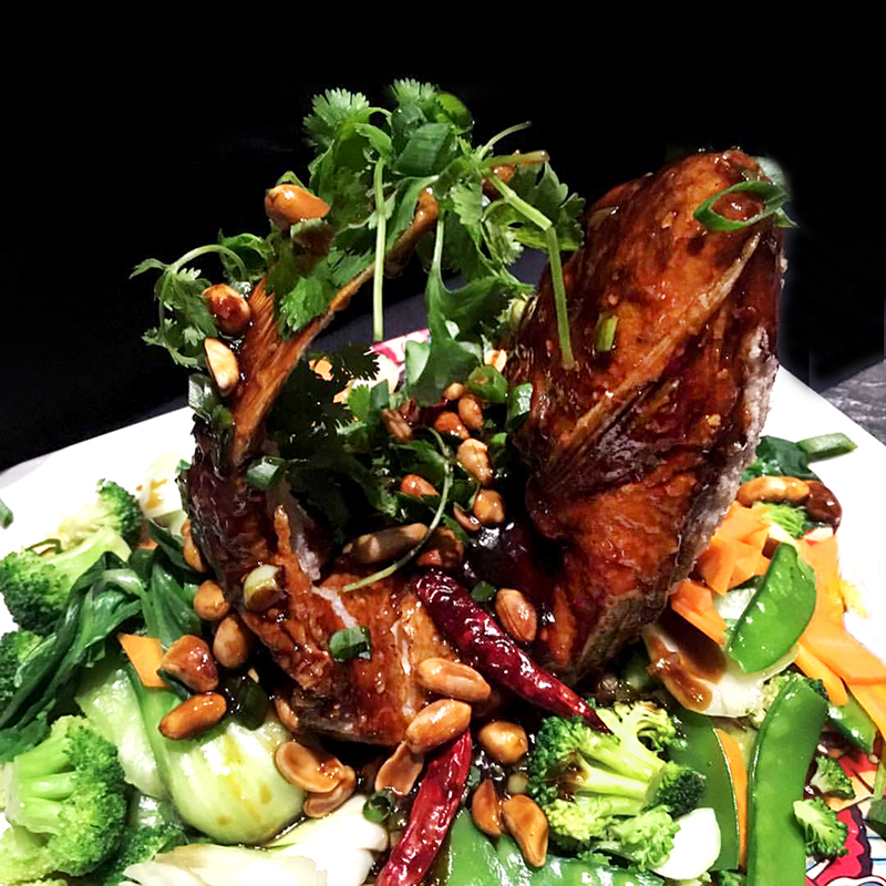 Whole Fish prepared with Kung Pao Sauce - A Starfish delicacy prepared your way, served with choice of asian vegetables or bok choy.