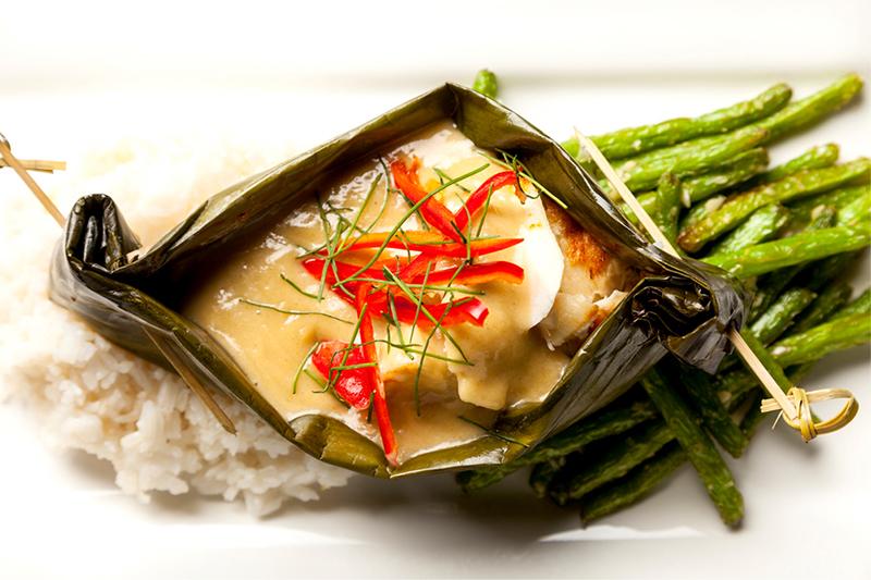 Chilean Sea Bass with Thai Green Curry - Thai Green Curry - with garlic green beans; Chinese Black Bean Sauce - with sautéed bok choy