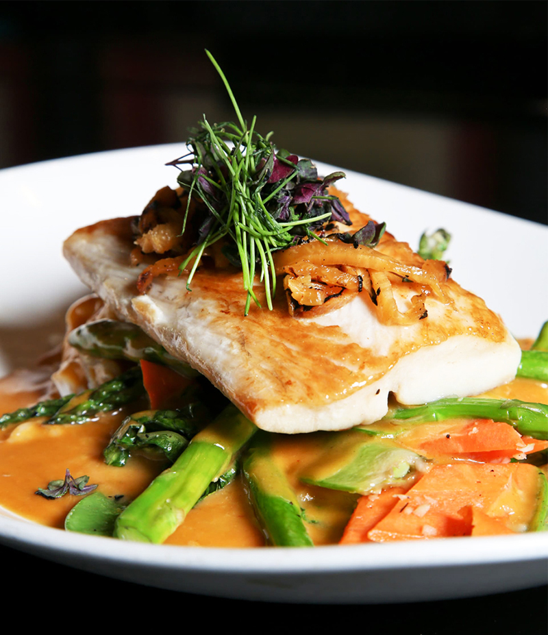 Pineapple Curried Mahi Mahi - Grilled Pineapple Curry - with wok fired vegetables; Kung Pao Sauce - with squash, broccoli, bok choy, peanuts