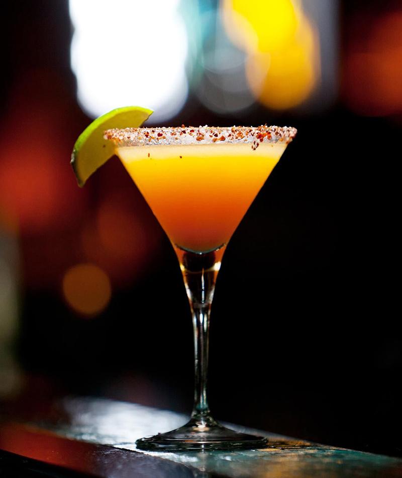 Buddha's Kiss (martini) - Vodka, chili-salted rim, mango purée, fresh lime, served up