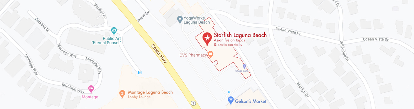 stylized map showing main roads and other businesses around Starfish Laguna for easy orientation