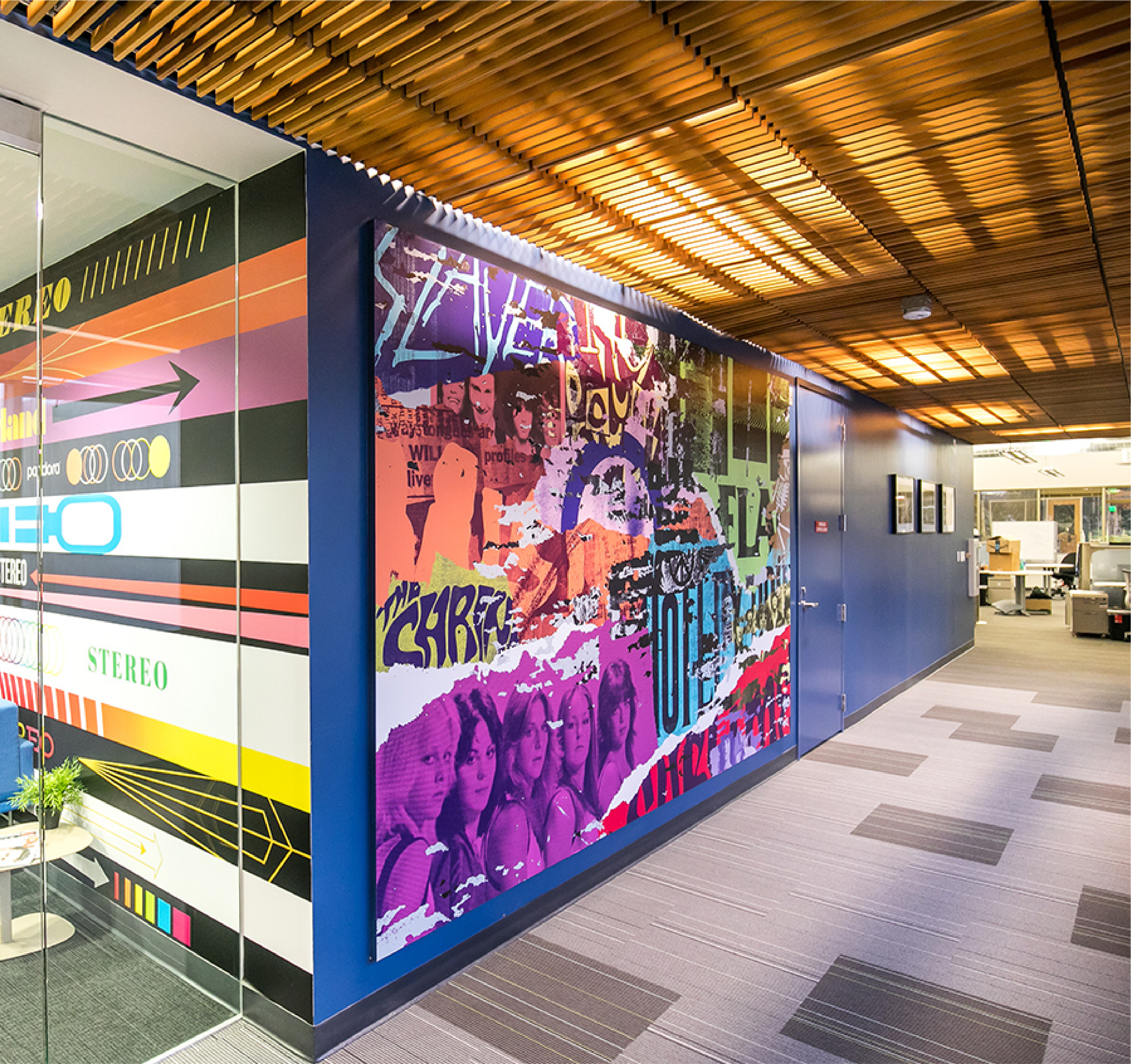 Corporate office installation with graphic design walls