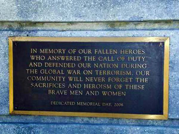 Global War On Terror Memorial Plaque