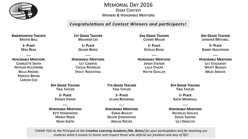 Memorial Day Essay Contest 2016