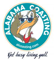 Alabama Coasting logo featuring AC the Pelican