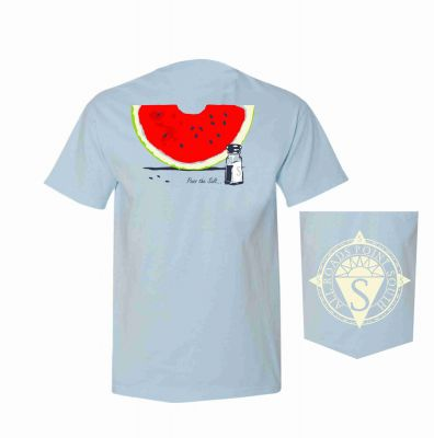 Light colored t-shirt with watermelon and salt design
