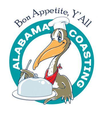Alabama Coasting logo featuring AC the Pelican