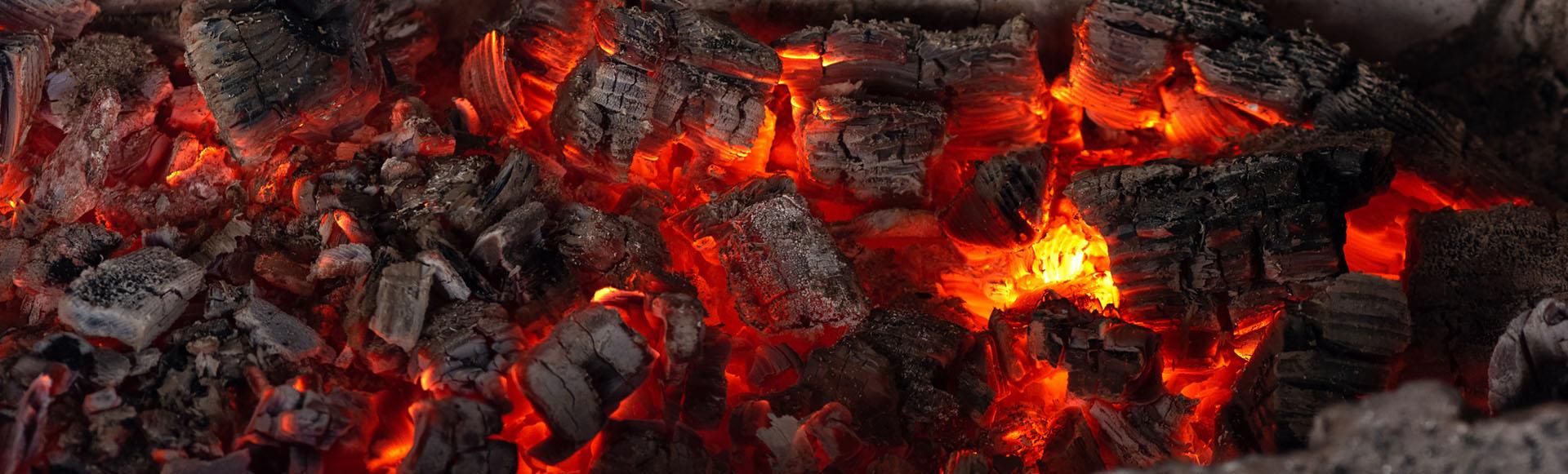 closeup of hot bbq coals