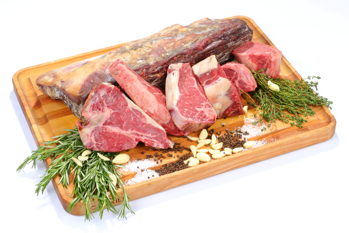 Cuts of Beef on a Cutting Board