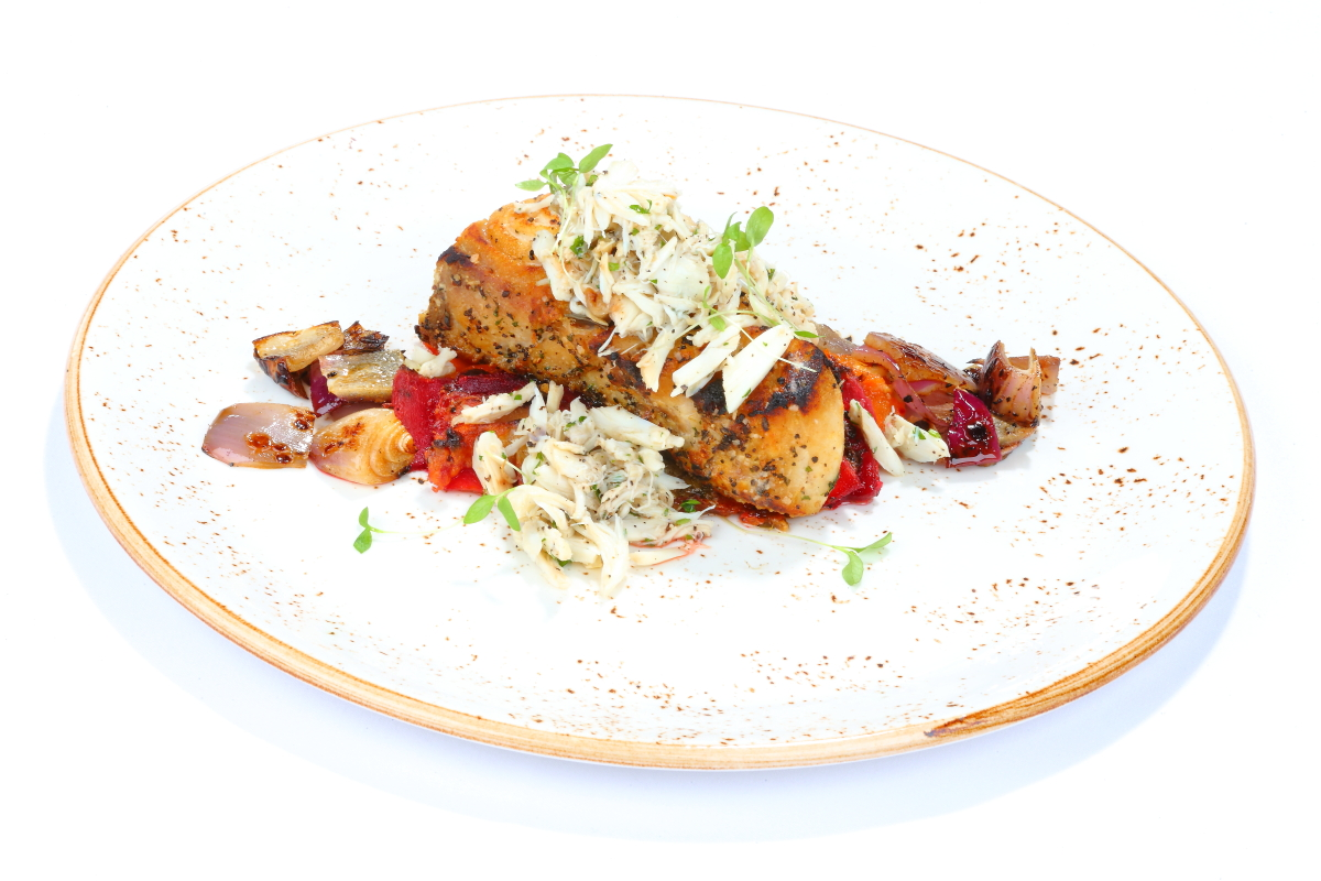 Grilled Fish with Crabmeat Dish