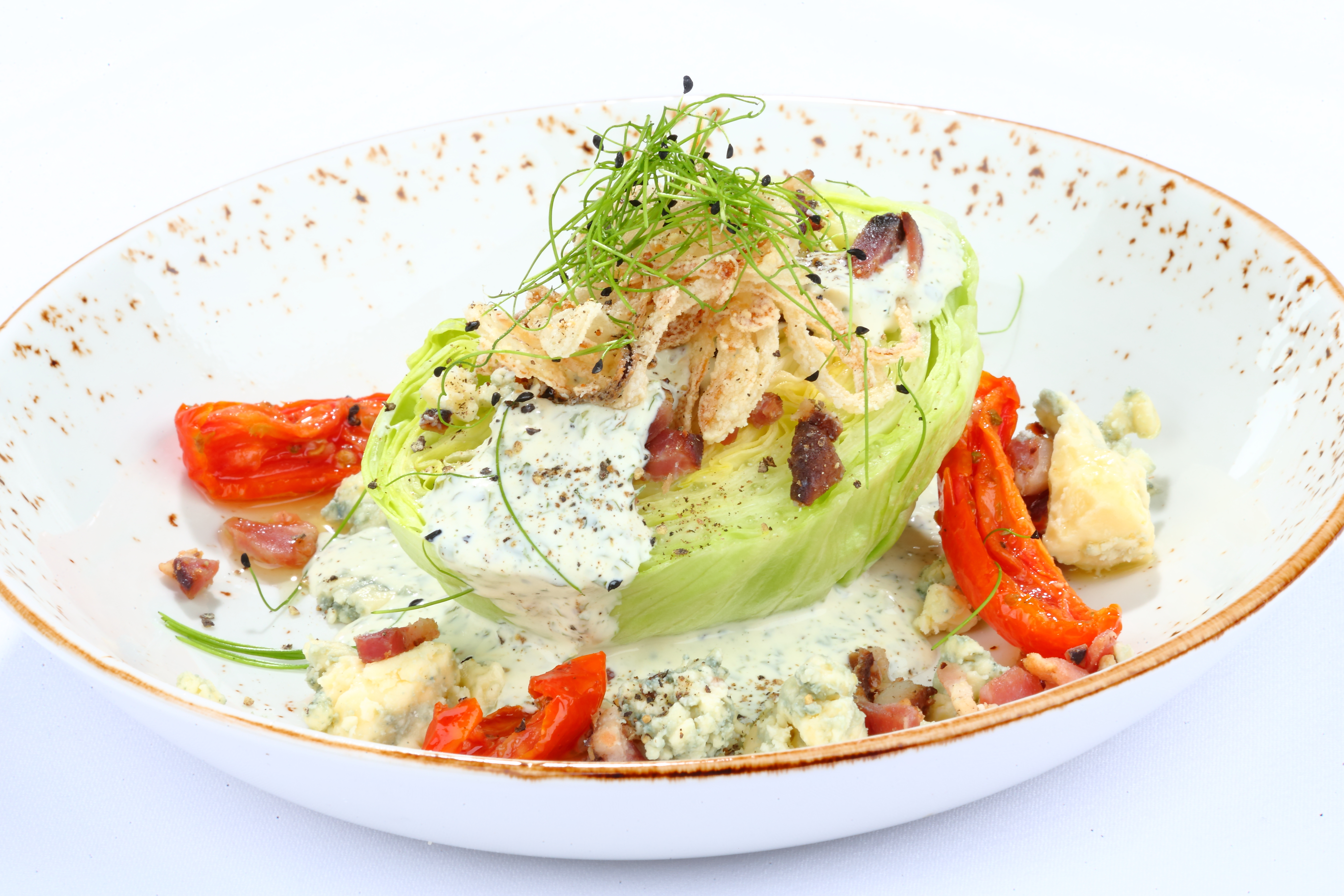 Half Lettuce Head Salad with Blue Cheese Dressing and Bacon