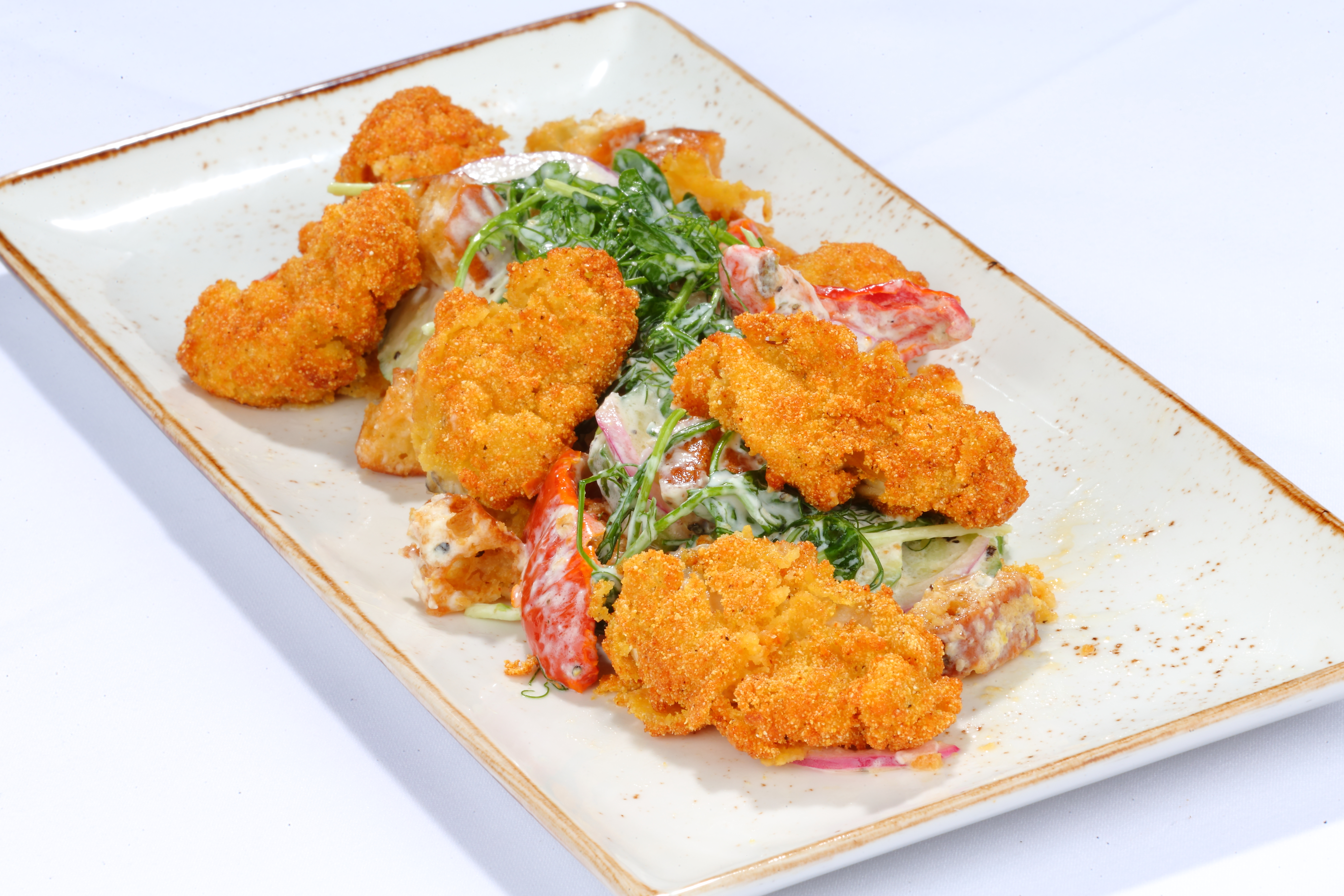 Fried Oysters on a Bed of Salad