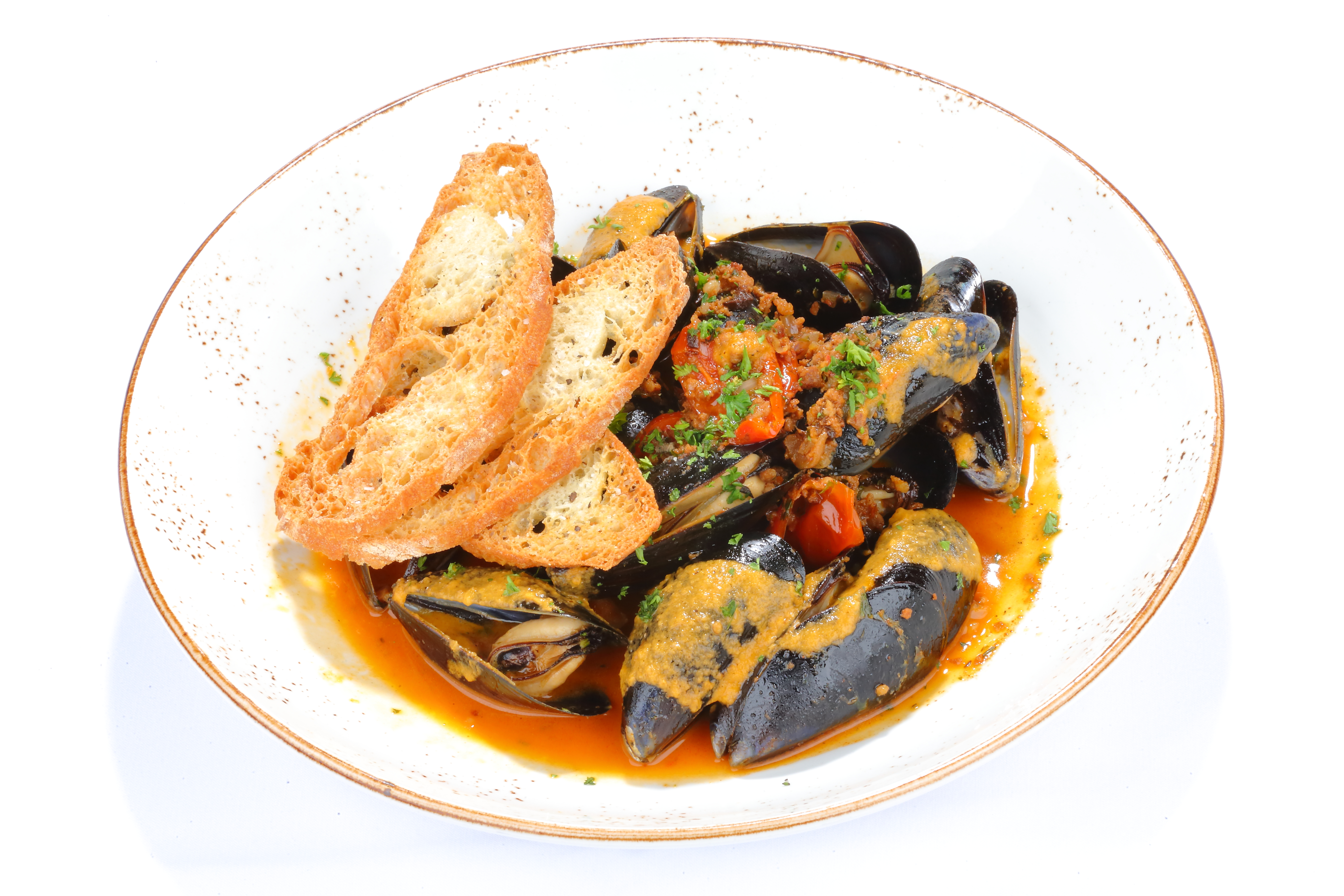 Steamed Mussels in Broth with Crostini