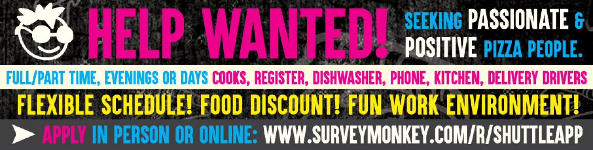 Help Wanted! Hiring in-person / online - www.surveymonkey.com/r/shuttleapp