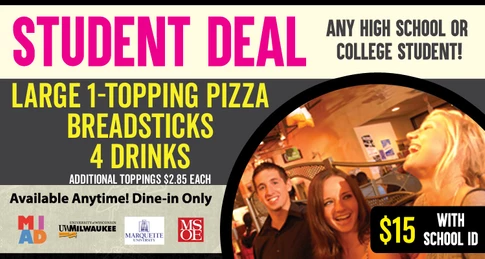 Dine-In Only Student Deal Specials