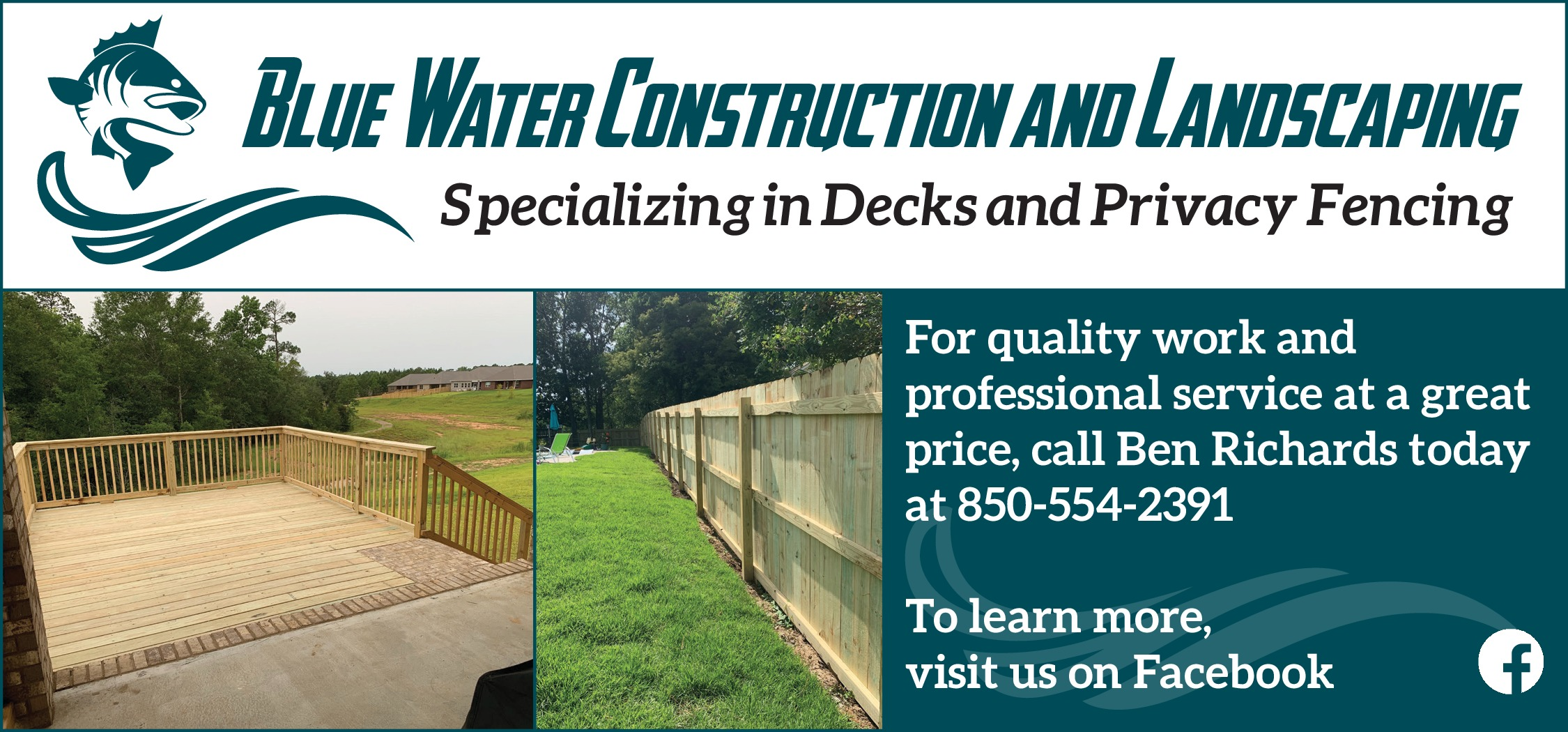 Blue Water Construction and Landscaping logo