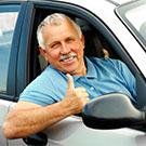 Smiling driver for providing transportation